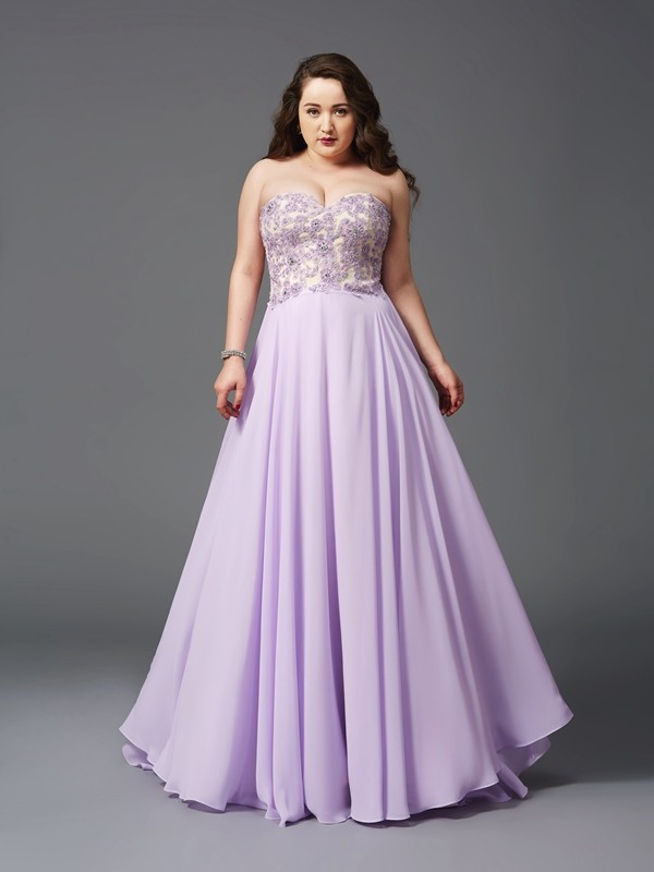 Sweetheart A-Line/Princess Lace Sleeveless Long Chiffon Plus Size Dresses