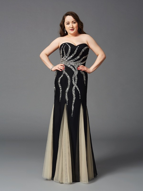 Sheath/Column Sweetheart Sleeveless Long Chiffon Plus Size Dresses With Beading