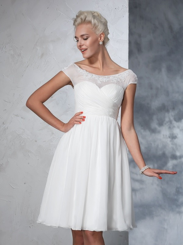 Sheer Neck A-Line/Princess Short Sleeves Short Chiffon Wedding Dresses With Ruched