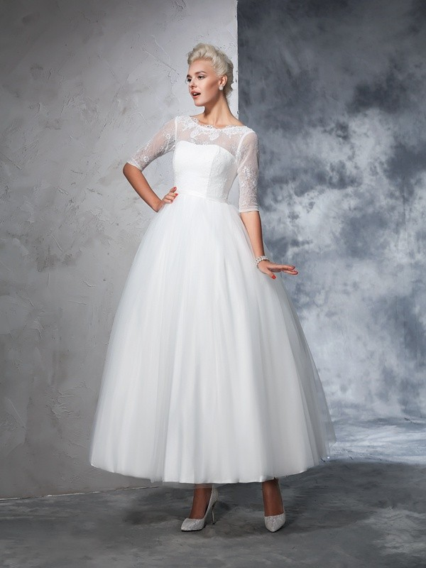 Ball Gown Bateau Lace 1/2 Sleeves Net Ankle-Length Wedding Dresses