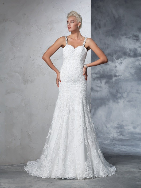 Spaghetti Straps Trumpet/Mermaid Lace Sleeveless Long Lace Wedding Dresses