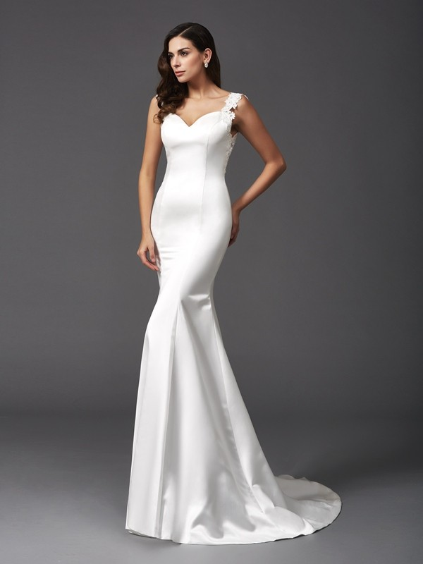 Trumpet/Mermaid Straps Sleeveless Long Satin Wedding Dresses With Beading