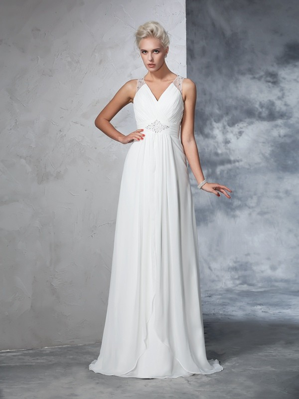 A-Line/Princess V-neck Sleeveless With Ruched Long Chiffon Wedding Dresses