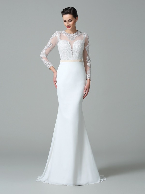 Jewel Trumpet/Mermaid Lace Long Sleeves Satin Long Wedding Dresses
