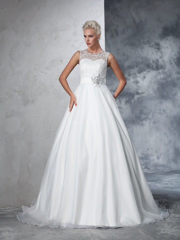 Amazing Ball Gown Sheer Neck Lace Sleeveless Net Chapel Train Wedding Dresses