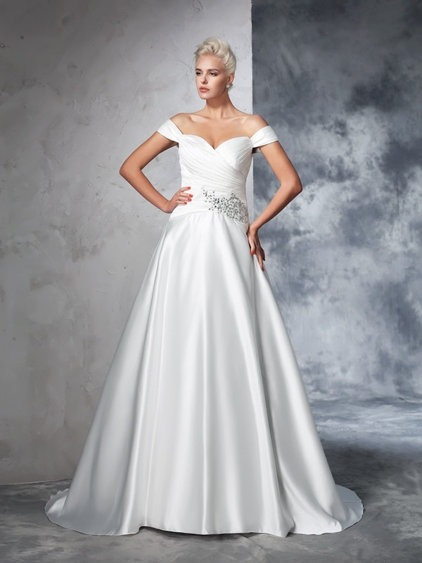 Off-the-Shoulder Ball Gown Sleeveless Long Taffeta Wedding Dresses With Ruched