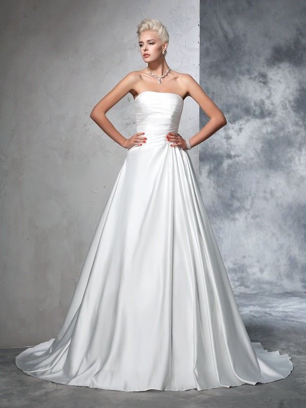 Ball Gown Strapless With Ruched Sleeveless Satin Long Wedding Dresses
