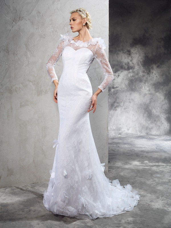 Sheer Neck Sheath/Column Hand-Made Flower Long Sleeves Long Satin Wedding Dresses