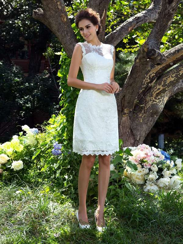 A-Line/Princess Sheer Neck Sleeveless Short Satin Wedding Dresses With Applique