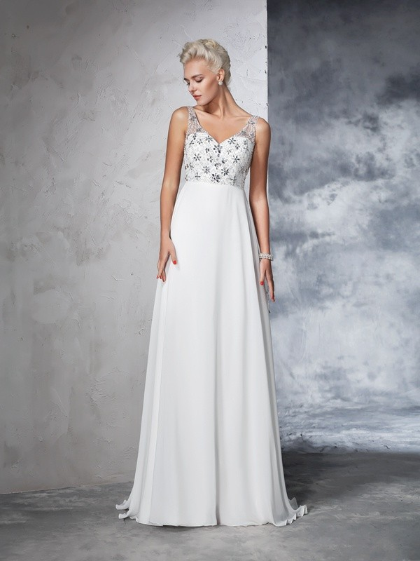 A-Line/Princess V-neck Sleeveless Long Chiffon Wedding Dresses With Beading