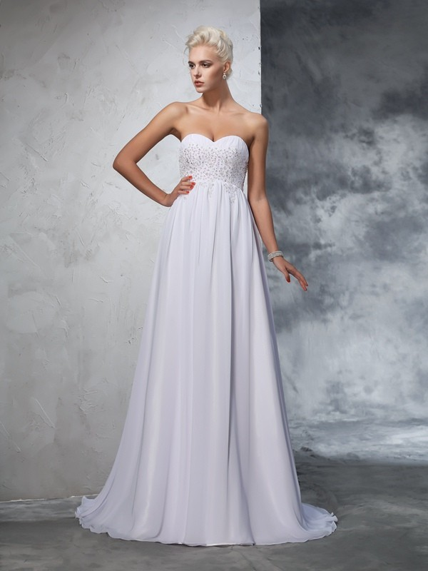 A-Line/Princess Sweetheart Sleeveless Long Chiffon Wedding Dresses With Beading