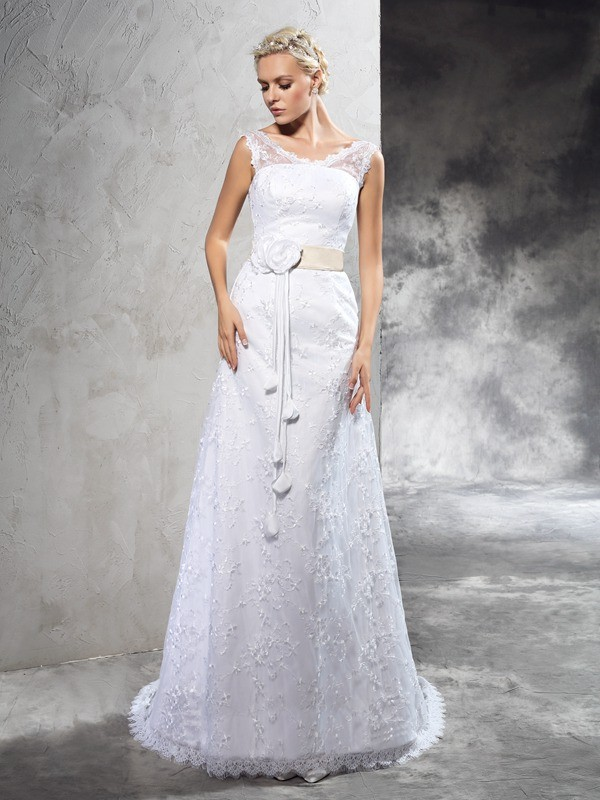 Sheer Neck Sheath/Column Hand-Made Flower Sleeveless Long Satin Wedding Dresses