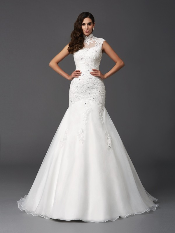 Trumpet/Mermaid High Neck Sleeveless Long Organza Wedding Dresses With Beading