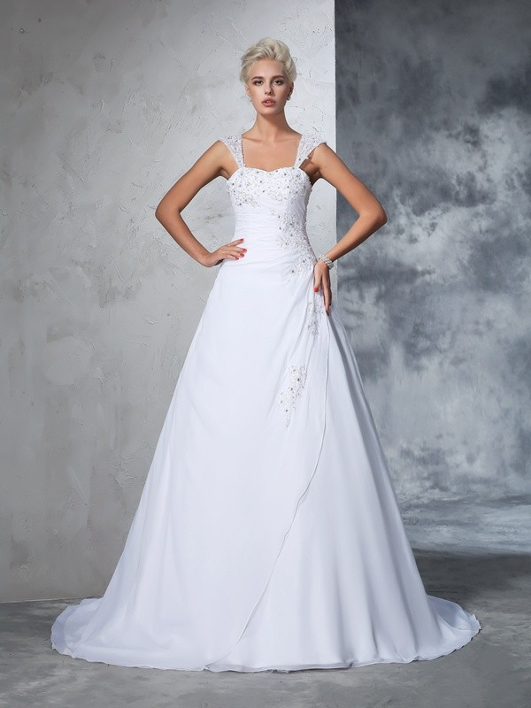 Ball Gown Straps Sleeveless Long Chiffon Wedding Dresses With Applique