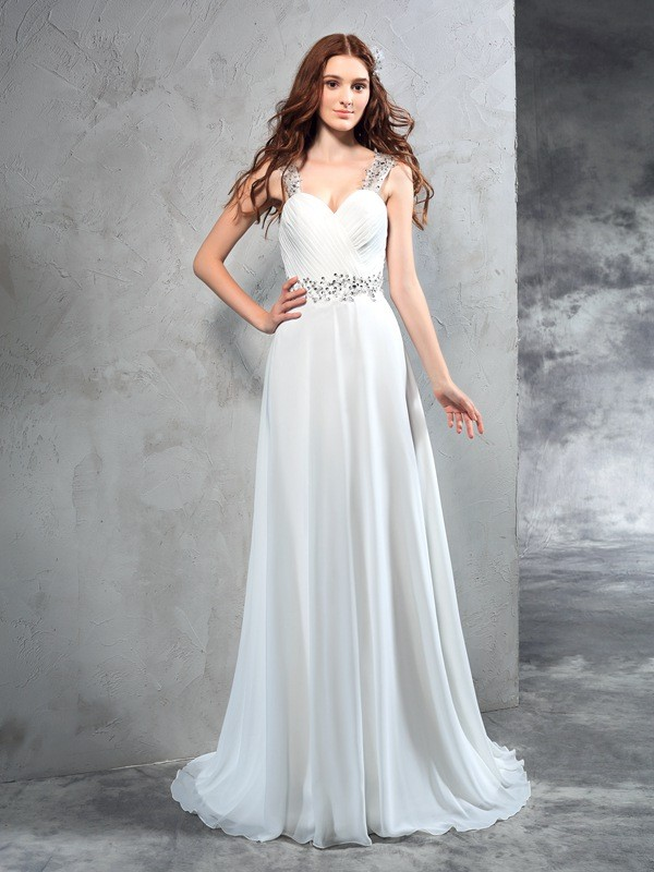 A-Line/Princess Sweetheart Pleats Sleeveless Chiffon Long Wedding Dresses
