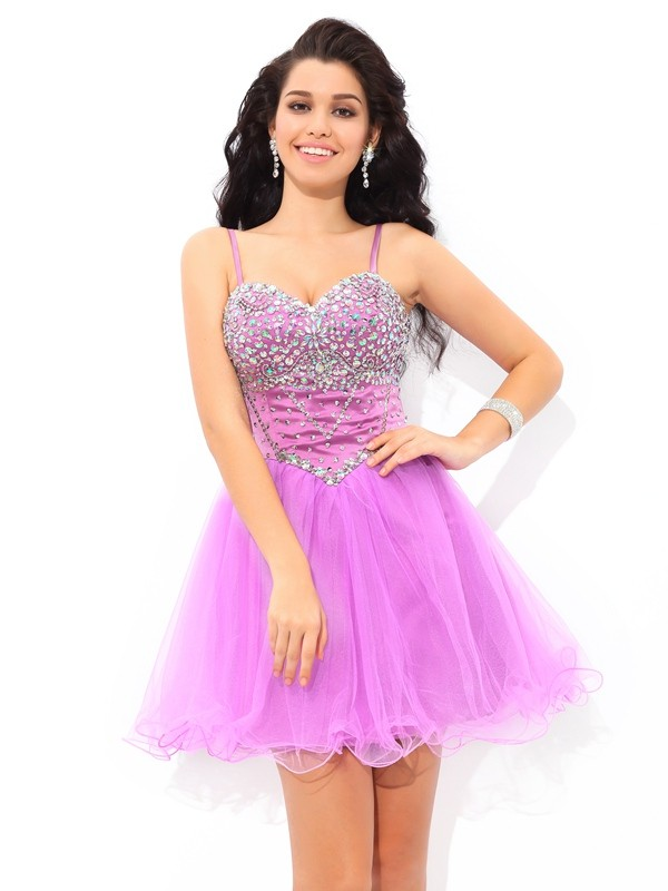 A-Line/Princess Spaghetti Straps With Paillette Sleeveless Short Net Dresses