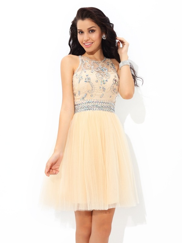 A-Line/Princess Sheer Neck Sleeveless Net Short/Mini Dresses With Beading