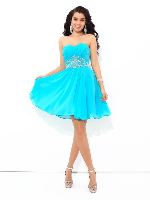 A-Line/Princess Sweetheart Sleeveless Chiffon Short/Mini Dresses With Pleats