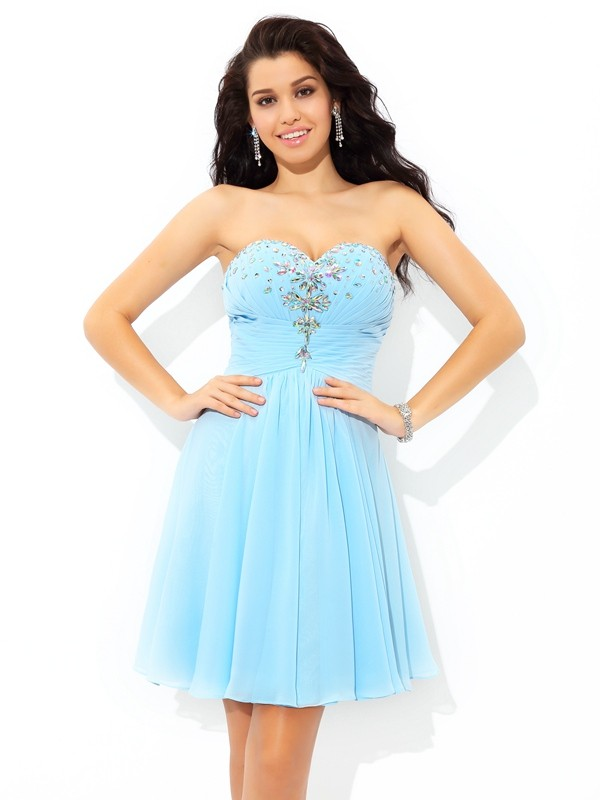 A-Line/Princess Sweetheart Sleeveless Chiffon Short/Mini Dresses With Beading