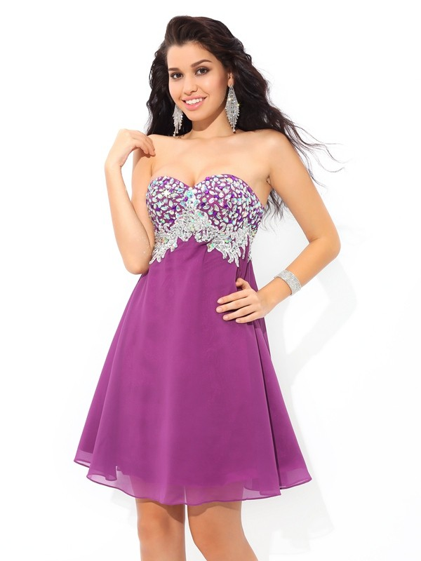 A-Line/Princess Sweetheart Sleeveless Chiffon Short/Mini Dresses With Rhinestone
