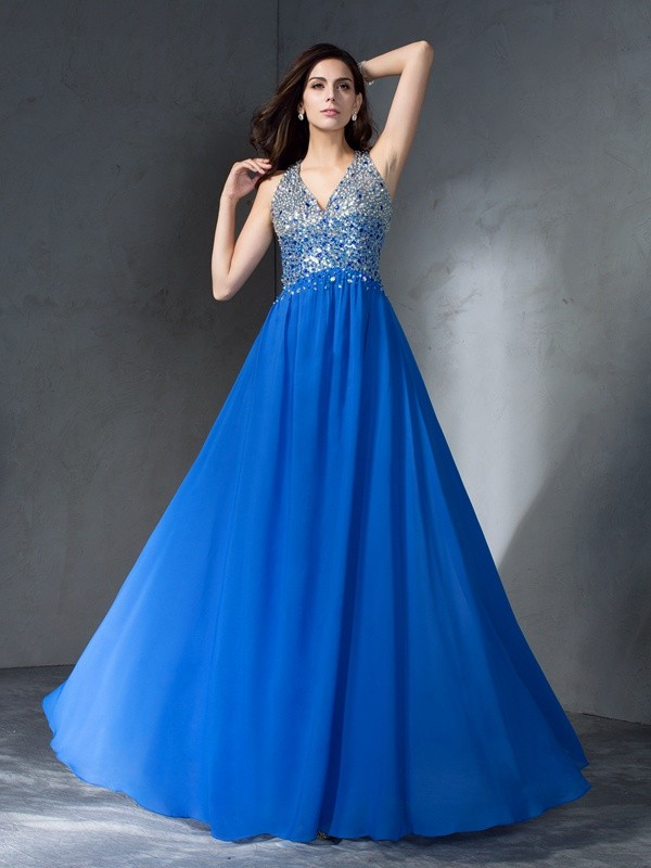 A-Line/Princess V-neck Sleeveless Long Chiffon Dresses With Beading