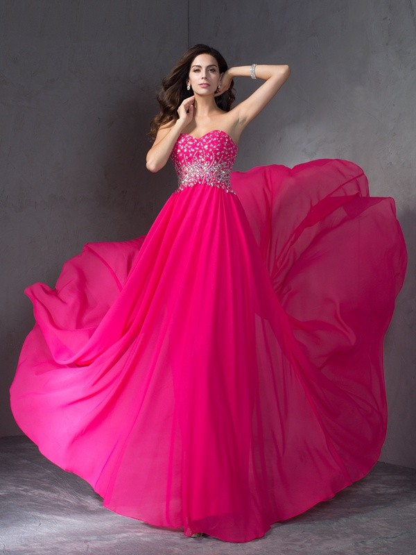 A-Line/Princess Sweetheart Chiffon Sleeveless Long Dresses With Beading