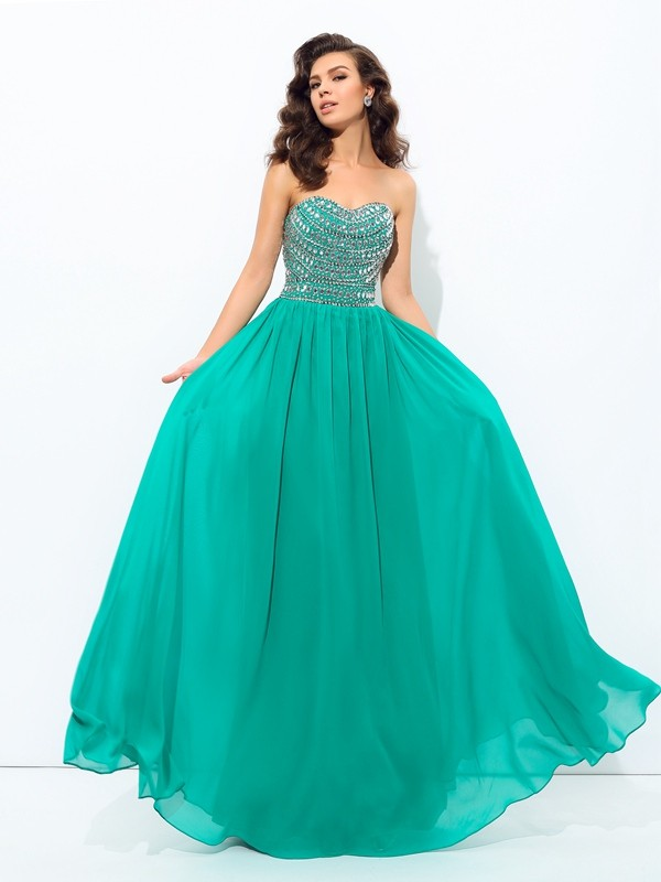 A-line/Princess Chiffon Sweetheart Sleeveless Long Dresses With Beading