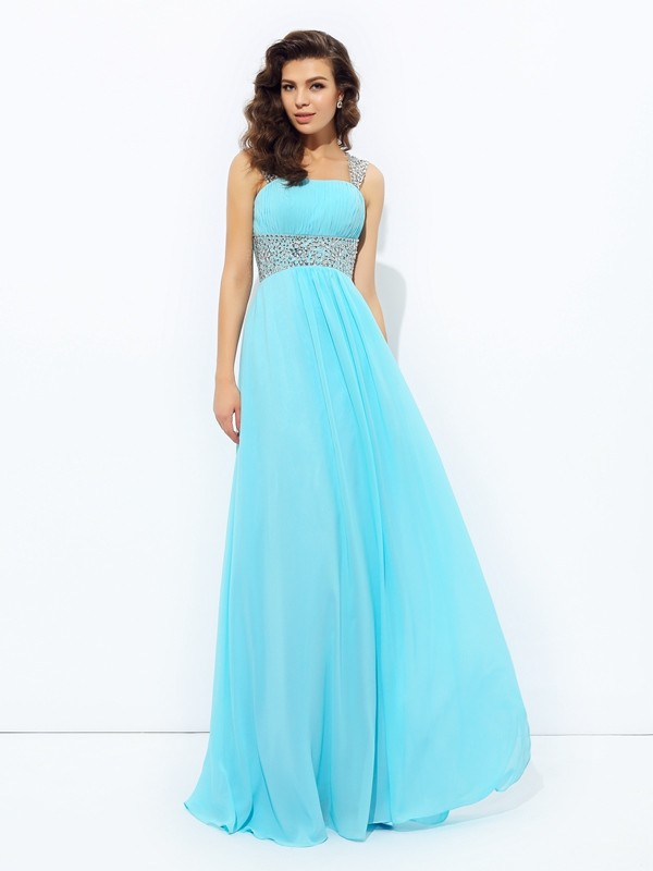 Chiffon A-line/Princess Straps Sequin Sleeveless Long Dresses