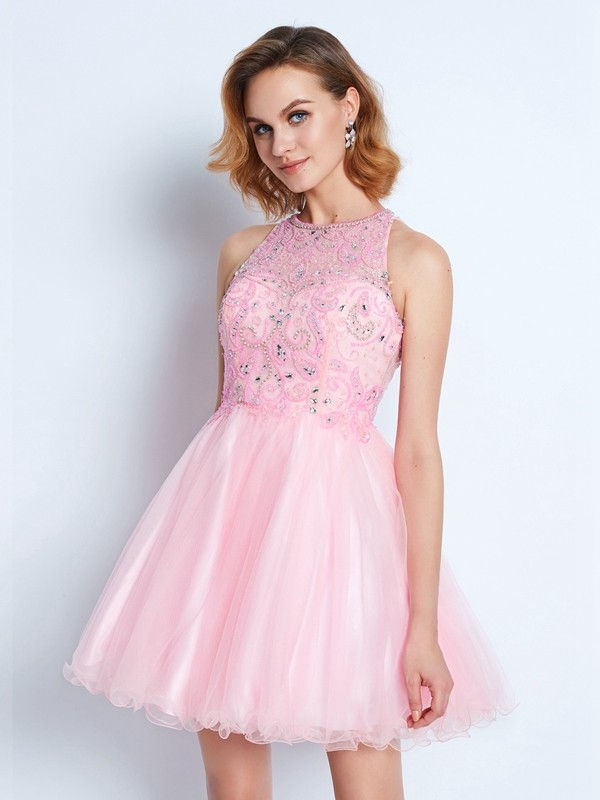 Jewel A-line/Princess Sleeveless Short/Mini Net Dresses With Ruffles