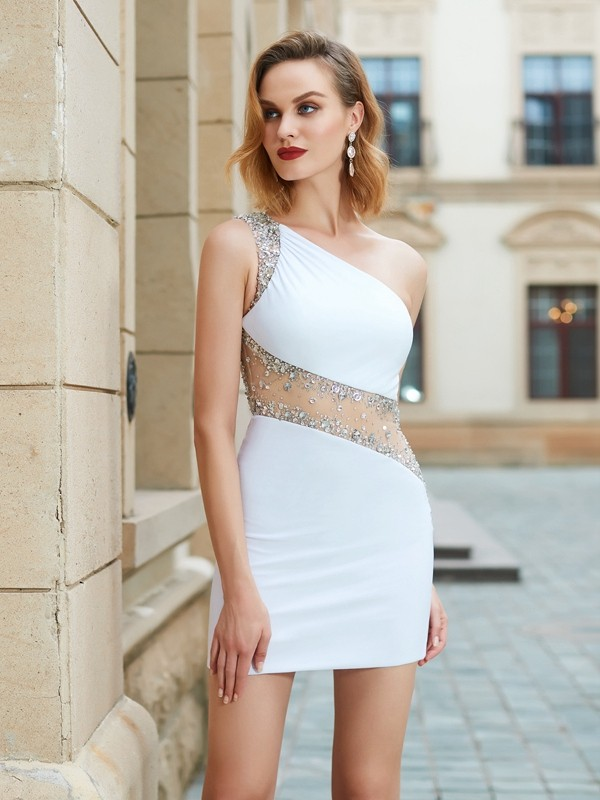 Sheath/Column One-Shoulder Sleeveless Short Net Dresses With Beading