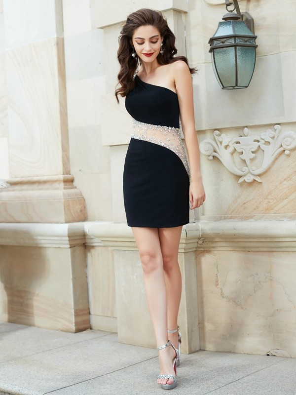 One-Shoulder Sheath/Column Sleeveless Short/Mini Net Dresses With Beading