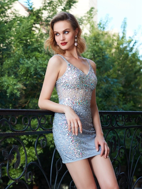 Sheath/Column Spaghetti Straps Sequin Sleeveless Net Short Dresses