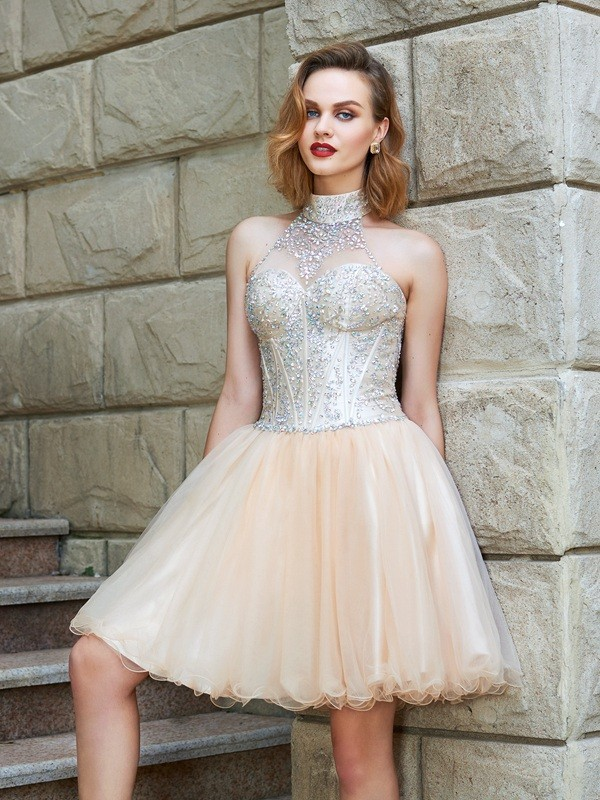 A-Line/Princess Halter Sleeveless Net Short Dresses With Beading