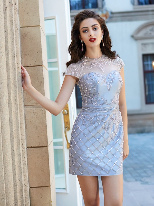 Sheath/Column Jewel Short Sleeves With Beading Satin Short Dresses