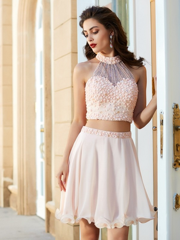 A-Line/Princess Halter Sleeveless Chiffon Short Two Piece Dresses With Beading