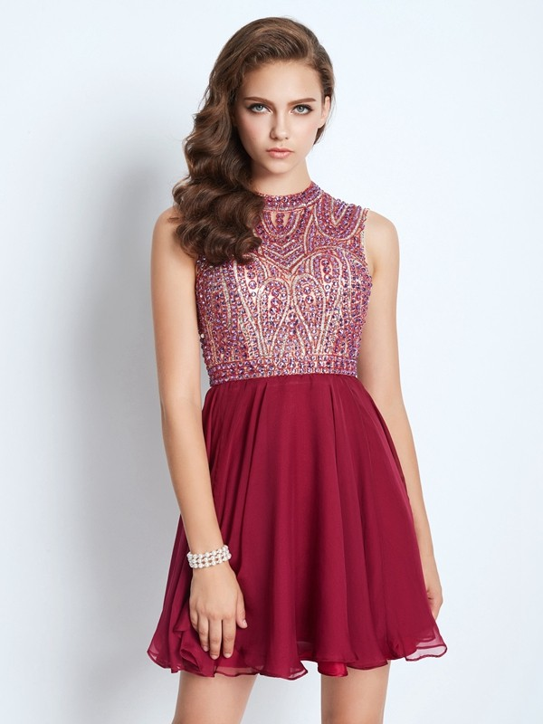 Jewel A-Line/Princess Sleeveless Chiffon Short/Mini Dresses With Beading