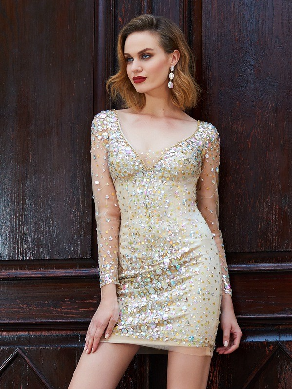 Sheath/Column Scoop Long Sleeves Net With Rhinestone Short/Mini Dresses