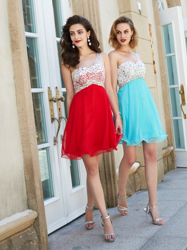 A-line/Princess Chiffon One-Shoulder Sleeveless Short Dresses With Beading