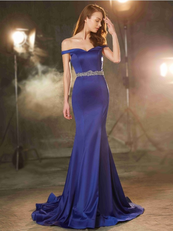 Sweep/Brush Train Mermaid Off-the-Shoulder Sleeveless Crystal Satin Dresses