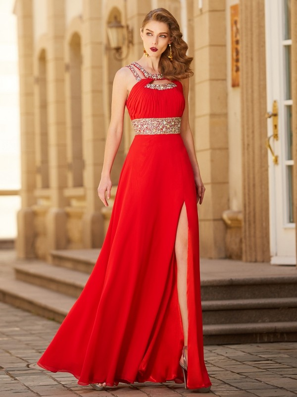 Floor-length A-line/Princess Scoop Sleeveless Chiffon Dresses With Beading