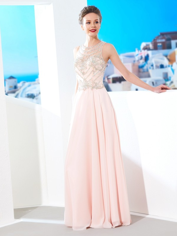 Floor-length A-Line/Princess Scoop Sleeveless Chiffon Crystal Dresses