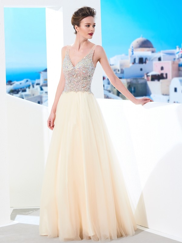 Ball Gown V-neck Floor-length Sleeveless Tulle Dresses With Beading