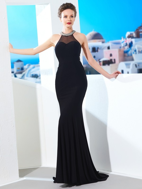 Sweep/Brush Train Sheath/Column Jewel Sleeveless Spandex Dresses With Beading