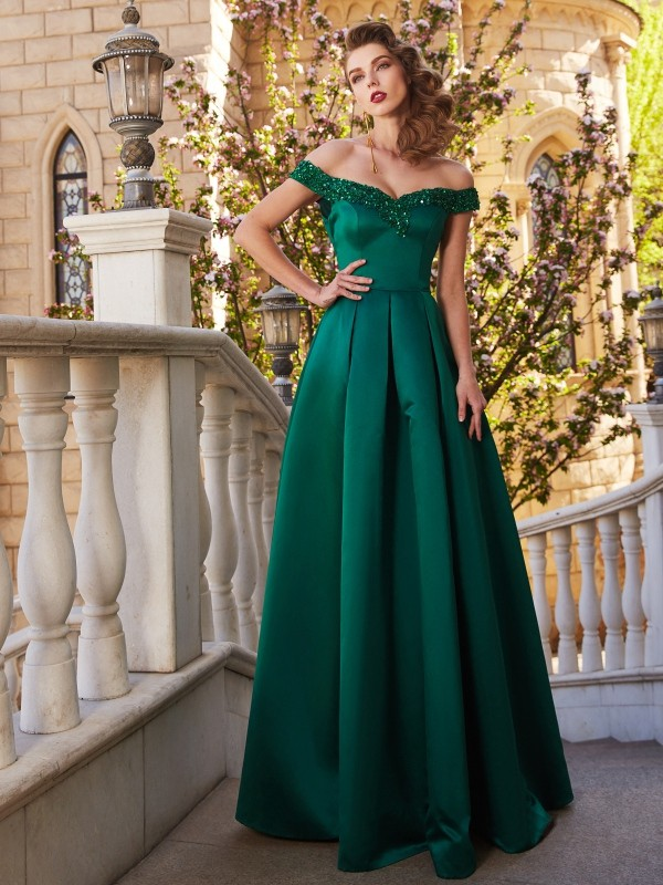 Floor-Length A-Line/Princess Off-the-Shoulder Sequin Sleeveless Satin Dresses