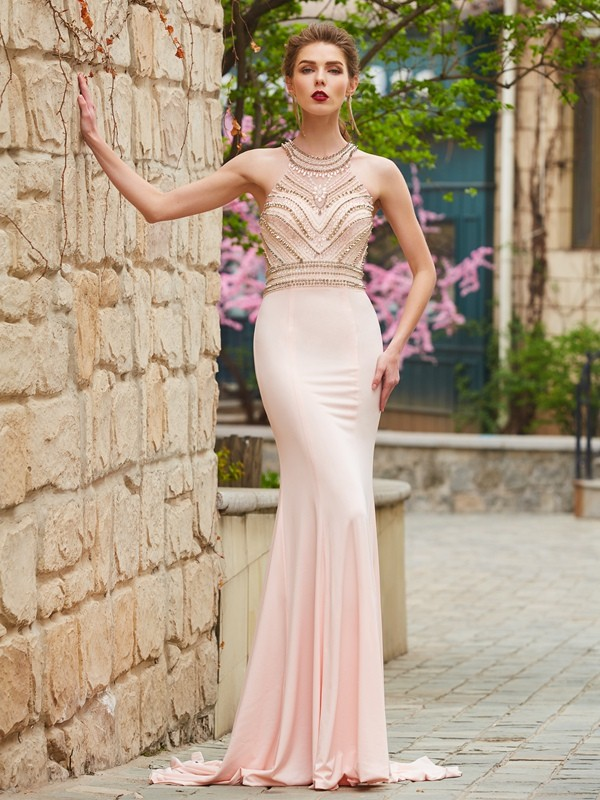 Sweep/Brush Train Sheath/Column Scoop Sleeveless With Beading Spandex Dresses