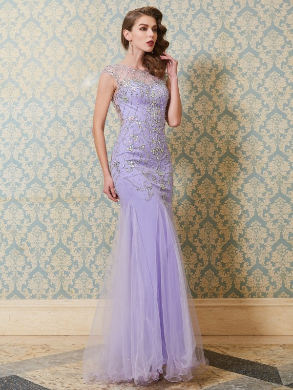 Trumpet/Mermaid Scoop Sleeveless Floor-length Tulle Dresses With Beading