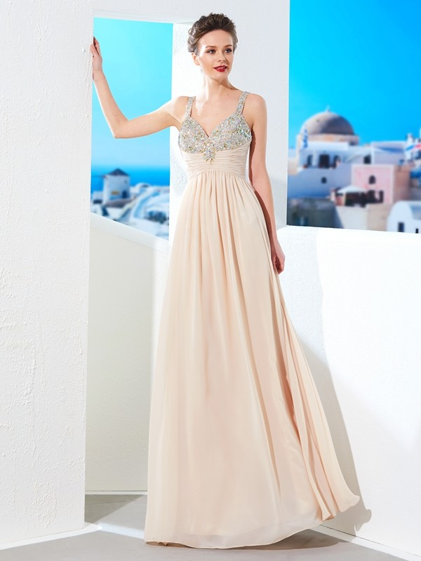 A-Line/Princess Spaghetti Straps Floor-Length Chiffon With Beading Dresses