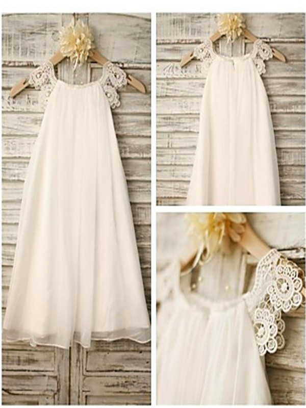 A-Line/Princess Scoop Sleeveless Lace Chiffon Tea-Length Flower Girl Dresses