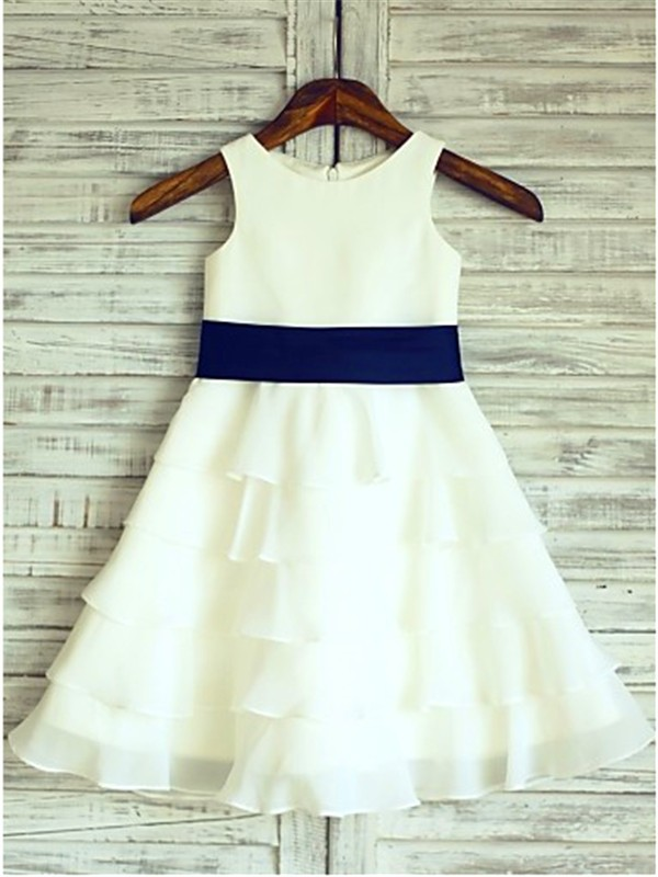 A-Line/Princess Scoop Sleeveless Tea-Length With Ruffles Chiffon Flower Girl Dresses
