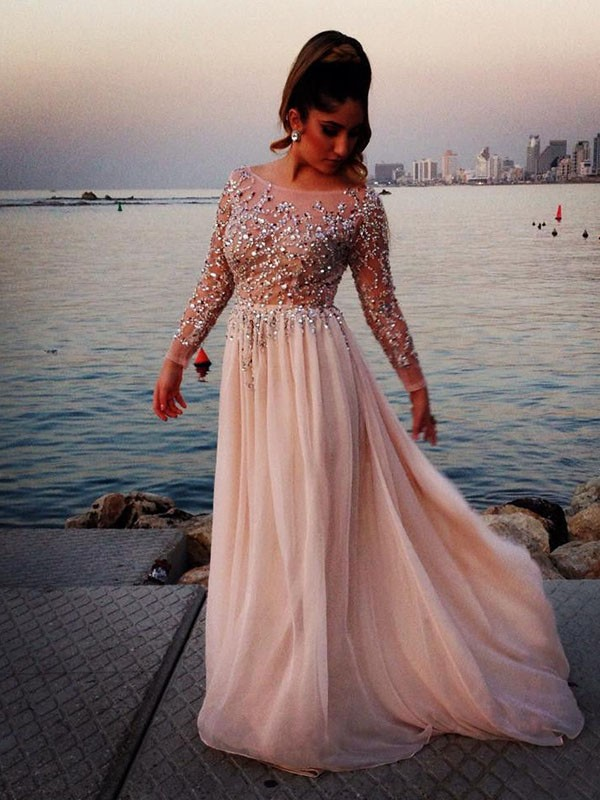 A-Line/Princess Bateau Long Sleeves With Beading Chiffon Long Dresses